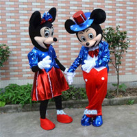 Wholesale Wholesale Plus Size Mascot Costumes - U.S. Flag Mickey $ Minnie Mouse Mascot Costume Party Fancy Dress Free Shipping