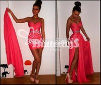 Wholesale Beaded Chiffon Detachable Skirt Dress - 2015 Sexy Cheap Hot Detachable Skirt Prom Dresses Sweetheart Crystal Beaded Chiffon Coral Side Slit Two Pieces Party Formal Evening Gowns