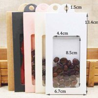Wholesale Fruit Hanger - 50PCSnew kraft paper gift window box with hanger candy favor storage hanger box for cookies dry fruit coffe beads wedding gifts 6.6*13.5cm