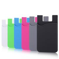 iphone schlanke brieftasche großhandel-Ultra-dünnes selbstklebendes Kreditkarten-Mappen-Karten-Satz-Kartenhalter-buntes Silikon für Smartphones für iPhone X 8 7 6S Sumsung S8