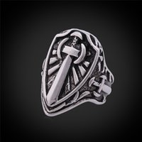 Wholesale Band Sword - MGC Paladin Knight Sword Shield Band Ring For Men Stainless Steel With GIFT BOX Never Fade Fashion Jewelry Punk Rap GR384