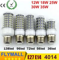 Wholesale E14 Led 25w - 10x Ultra Bright E27 E14 GU10 G9 12W 18W 25W 30W 35W Led Bulb Lights SMD 4014 Led Corn Light AC 85-265V Lamp Corn Bulb 360 degree Spot Light