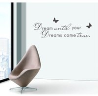 "Wholesale Quotation Sticker - wall quotes English Quotations ""Dream Until Your Dreams Come True"" Vinyl Removable wall sticker kids Quote"
