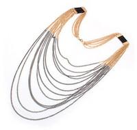 colar de borlas de franja venda por atacado-Moda na moda Bohemian Mulheres Multi Gold Gun-black Correntes Tassel Fringe Colar Cadeia de Jóias