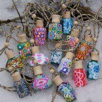 Wholesale ceramic perfume bottles - 15ml Car hang decoration Ceramic essence oil Perfume bottle Hang rope empty bottle refillable bottle container bottle