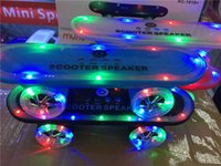 Wholesale Wholesale Kick Scooters - Christmas Gift LED Flash Kick scooters Mini bluetooth speakers wireless Subwoofer Stereo Portable Skateboard speaker for Table pc phone