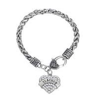 Pour le cadeau de l'enseignant Fitness Bodybuilding ENSEIGNANT Rhinestone Mixcolor Crystal Heart Charm Bracelets For WomenMen Jewelry 50pcs beaucoup Rhodium