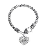 Wholesale Wholesale Fitness Charms - To Teacher's Gift Fitness Bodybuilding TEACHER Rhinestone Mixcolor Crystal Heart Charm Bracelets For Women&Men Jewelry 50pcs a lot Rhodium