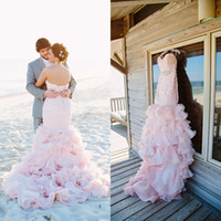 Wholesale Belted Ruffle Top - 2015 Hot Sale Blush Colorful Wedding Dresses Mermaid Bridal Gowns Ruched Top Ruffles Skirt Lace-up Brides Wear with Crystals Belt Sash