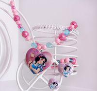 Wholesale Princess Chunky Beads - Fairy princess jewelry sets childrens jewellery girls chunky necklace charms bracelet cartoon rings kids bubblegum beads baby christmas gift