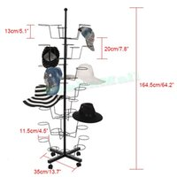 Wholesale Adjustable Hat Cap Rotating Display Stand Retail Cap Displayer Organizer Rack Holder Hanger Stand Metal Floor Stand Black US02
