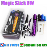 Wholesale Electronic Cigarette Coil Wire - New Magic stick CW toolbox RDA pre coil tool box master vape jig kit 6 in 1 wire coiling machine koiler kit wick e electronic cigarette DHL