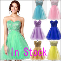 Wholesale Sweetheart Prom Dresses Split - $38.9 In Stock Pink Tulle Mini Crystal Homecoming Dresses Beads Lilac Sky Royal Blue Mint Short Prom Party Gowns 2016 Cheap Real Image
