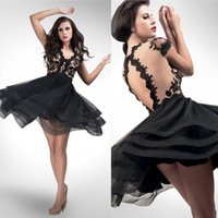 Wholesale White Knee Lenght Dresses - 2015 Short Black Homecoming Dresses V-Neck A-Line with Tiered Skirt Lace Body Knee-Lenght Prom Party Dresses Free Shipping HH075