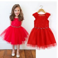 Wholesale Wholesale Retail Flower Dress - Retail New wedding party Flower Girl Dress Bright Christmas Red sleeveless gift Dress girl children clothes hot sale