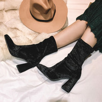 Wholesale Long Fur Boots Cheap - Women boots high quality flowers printed tease ankle long chunky heels high heels cheap casual shoes