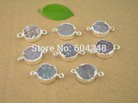 Wholesale Beads Flat Round 16mm - 5Pcs Nature Druzy Agate Stone Connector Beads 16mm, Round shape Silver plated Quartz Drusy Gem stone Connector Pendant Findings