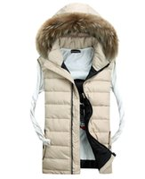 Wholesale Fur Vests For Men - Fall-Fur collar autumn winter vest waistcoat down jacket winter vest sleeveless jacket for men&women fashion outdoor chaleco hombre