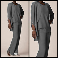 Wholesale Grey Color Evening Dress - Grey Chiffon Formal Pant Suits For Mother Groom Dresses Evening Wear Long Mother of the Bride Dresses With Jackets Plus Size Custom