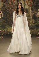 Wholesale Jenny Packham Crystal Wedding Dress - Jenny Packham Wedding Dress 2016 Runway Sheer Neck Sparkling Beading Crystals Empire Maternity Wedding Dresses Chiffon Vintage Bridal Gowns