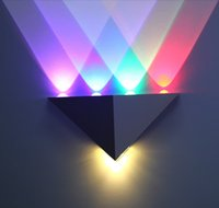 Wholesale Deco Wall Sconces - 5W Triangle LED Wall Light Sconces Mirror Lamp Backlight Decorative llight LED Corridor light Epistar energy saving LED lamp bar KTV room