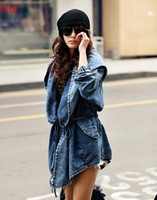 Wholesale Peplum Korea - Punk Washed Denim Jacket Hooded Big Hat Street Irregular Outwear Fashion Autumn Jeans Trench Coats Black Blue Korea Style Jackets Hot 8629