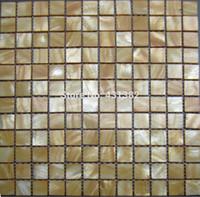 ingrosso piastrelle di mosaico giallo-Nuovo stile HYRX 25 tessere di mosaico a conchiglia: piastrelle in madreperla, tintura giallo chiaro, offerta speciale per la casa, mosaique nacre