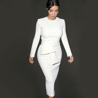 elbise streç bodycon iş toptan satış-2017 Güzel kadın Zarif Celeb Ayrılabilir Kuşaklı Aşınma Ofis Iş Kariyer Bodycon Streç Gömme Kılıf Elbise çalışmak
