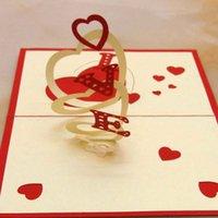 origami 3d pop up presente venda por atacado-Atacado 3D Amor cartão de casamento Criativo Kirigami Criativo Origami Pop UP Birhtday Presente Obrigado Cartões