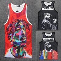 ingrosso caratteri stampati-All'ingrosso-2015 New fashion uomo / donna 3D stampa carattere Gilet Tupac 2Pac / Biggie maniche camicie canotta sport estivi Basket Jersey