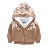 Wholesale Hood Sweater Boys - Fashion Childrens Cardigan Sweaters With Hood Winter Kids Thick Sweaters Babies Crochet Cardigan Sweaters Wholesale Price