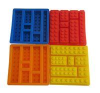 Wholesale Square Cube Silicone Moulds - Lego square ice cube tray mold chocolate fondant mold FDA DIY silicone baking cake molds 5colors Building Bricks ice molds