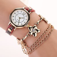 Montre Bracelet Multicouches Pas Cher-2015 New Fashion Women Watch Punk Style Golden Chain Pocker Multilayer cuir Quartz Montre habillée Femmes Lady Casual Montre bracelet