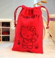 bolsa de dulces celular al por mayor-FreeShip 100 unids Alta calidad Rosa Rojo 4.3 pulgadas 10 * 15 cm 3D Bolsa de Teléfono Celular de Terciopelo de Dibujos Animados Bolsas de Joyas Del Banquete de Boda Dulces de Navidad Bolsa de Regalo