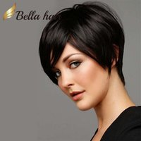 Wholesale High Quality Remy Hair Wigs - Popular Hair Styles Bob style Silky Straight Natural Black Wig High Quality 100% Human Hair Wigs Bob Style Lace Wigs Bella Hair