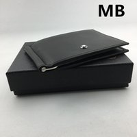 Wholesale Metal American - Classic MB Brand Designer Wallet with Credit Card Holder Black Genuine Leather Money Clip Thin ID Card Case for Travel Man Metal Purse