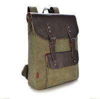 sacos de lona de couro mens mochila venda por atacado-Saco de escola do ombro da trouxa da mochila de acampamento da viagem do couro da lona do vintage dos homens