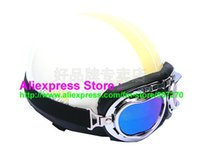 Gros-P.40 Marque ABS Demi Bol moto Cyclisme Half Visage Motorcycle White # Yellow Stripe Casque Couleur Goggles TAILLE M, L, XL