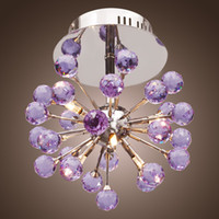 Wholesale kids ceiling lights for bedroom - Modern 6-light Floral Shape K9 Crystal Ceiling Light-Purple, Mini Style Flush Mount, Chandeliers for Kids Room, Bedroom, Living Room