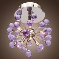 cristal violet achat en gros de-Plafonnier en cristal moderne K9 à 6 lumières de forme florale, violet, modèle à encastrer de style mini, lustres pour chambre d'enfants, chambre à coucher et salon