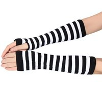 Wholesale warm long gloves - Wholesale-Newly Design Striped Fingerless Gloves Winter Warm Long Mittens Aug19