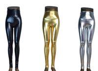 pantalones elásticos de piel sintética de talla grande al por mayor-Talla grande de cintura alta Brillante mojado líquido mirada PU cuero de imitación de metal polainas de estiramiento pantalones XS / S / M / L / XL