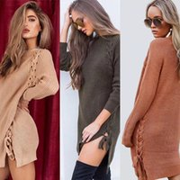 Wholesale Wool Western Skirt - 2017 Autumn And Winter Dress Western Faddish Sweater Skirt With Side Strap For Women Long Sleeve Sexy Dress