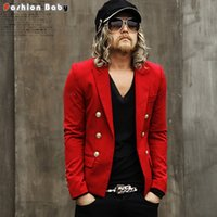 British Fashion Herren Goldknöpfe Slim Fit Blazer Rot Weiß Schwarz Cool Kurzer Design T-Stage Runway Jacket Suit