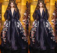 ingrosso modello per abito da sera nero-2016 modello nero Elie Saab abiti da sera scollo a V maniche lunghe raso spazzare treno una linea abito da festa tappeto rosso abiti celebrità