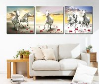 Wholesale Poetry Paintings - 3 Pieces Free shipping Wall Painting Art Picture Paint on Canvas Prints The white horse petal peacock crane peony shell Red flower poetry