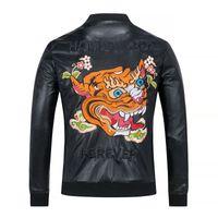 Wholesale Korean Fashion For Winter - Fashion Men's Winter Leather Jackets Faux Jacket Korean Stylish Slim Fit Coats Men Moto Skull Suede Jacket For Men ,M-3XL