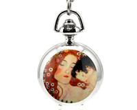 Wholesale Flip Fashion Watches - Hot sales Unique design Design enamel Mother and son White steel flip clock Pendant necklace pocket watch