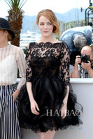 Wholesale Emma Stone - Little Black Celebrity Dresses Emma Stone 2015 Cannes Film Festival Sexy Half Sleeves Short Prom Dress Organza Cocktail BO7756