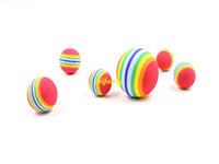Wholesale Dog Activity Ball - 200pcs lot Fast shipping 3.5cm Colorful Pet Cat Soft Foam ball 4.3cm 6.3cm Dog Rainbow Play Balls Activity Toys
